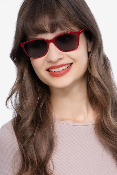 Halle Red Acetate Sunglass Frames for Women from EyeBuyDirect, Front View