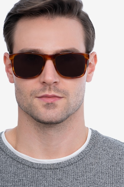 Kudos Brown Acetate Sunglass Frames for Men from EyeBuyDirect, Front View