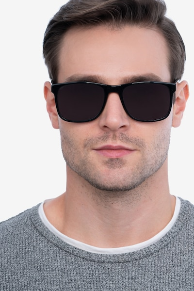 Kudos Black Acetate Sunglass Frames for Men from EyeBuyDirect, Front View