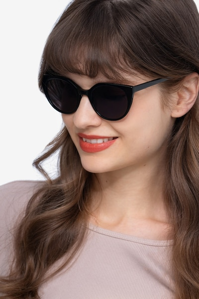 Sun Rhyme Black Acetate Sunglass Frames for Women from EyeBuyDirect, Front View