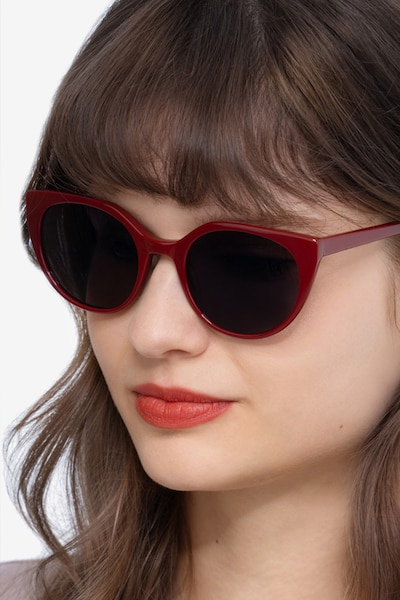 Sun Rhyme Burgundy Acetate Sunglass Frames for Women from EyeBuyDirect