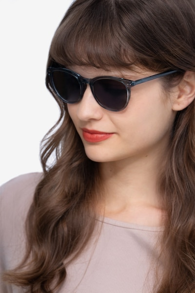 Rhythm Clear Blue Acetate Sunglass Frames for Women from EyeBuyDirect, Front View