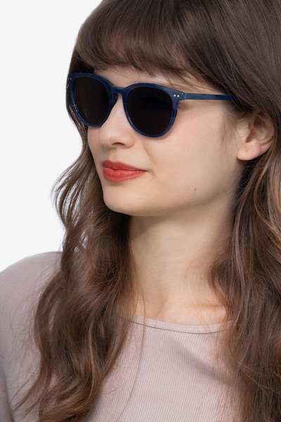 Rhythm Blue Acetate Sunglass Frames for Women from EyeBuyDirect, Front View