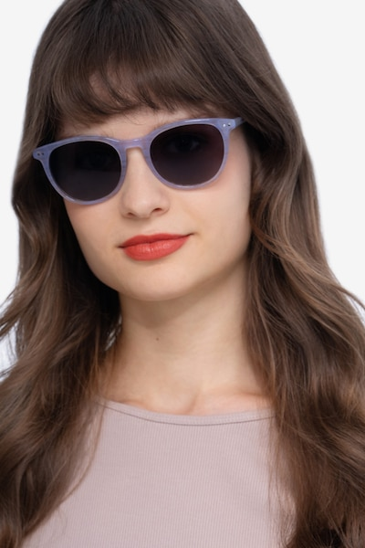 Rhythm Purple Striped Acetate Sunglass Frames for Women from EyeBuyDirect, Front View