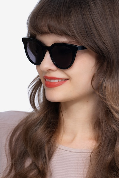 Cherish Black Acetate Sunglass Frames for Women from EyeBuyDirect, Front View