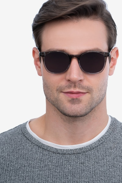 Soleil Striped Acetate Sunglass Frames for Men from EyeBuyDirect, Front View