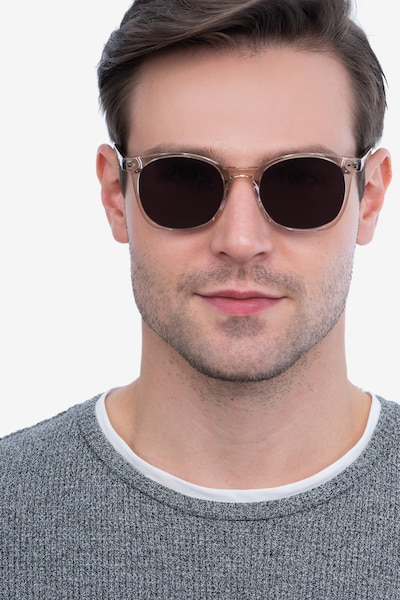 Soleil Champagne Acetate Sunglass Frames for Men from EyeBuyDirect, Front View