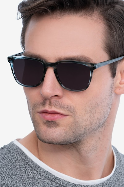 City Blue Striped Acetate Sunglass Frames for Men from EyeBuyDirect