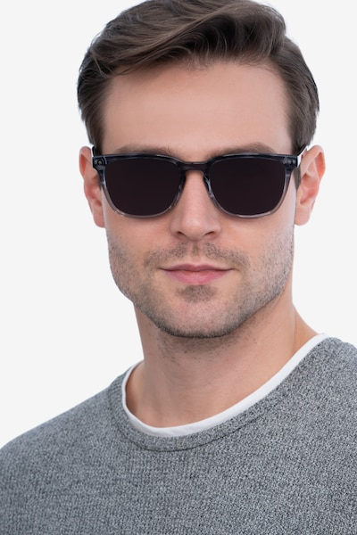 City Striped Acetate Sunglass Frames for Men from EyeBuyDirect, Front View