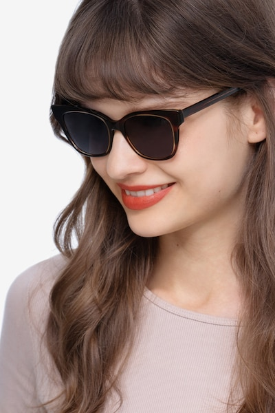 Sun Cachet Tortoise Acetate Sunglass Frames for Women from EyeBuyDirect, Front View