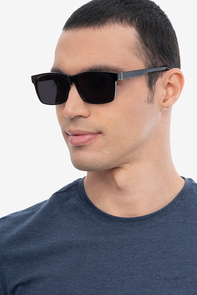Sun Sydney Black Acetate Sunglass Frames for Men from EyeBuyDirect, Front View