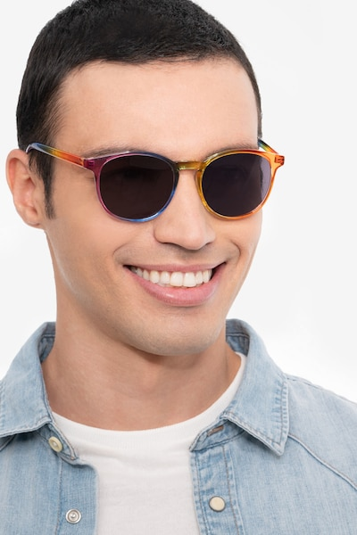 Power Rainbow Plastic Sunglass Frames for Men from EyeBuyDirect, Front View