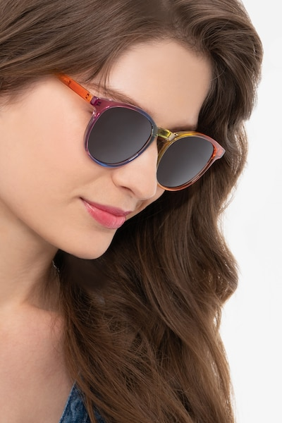 Power Rainbow Plastic Sunglass Frames for Women from EyeBuyDirect, Front View