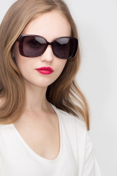 Marilyn Black Red Acetate Sunglass Frames for Women from EyeBuyDirect, Front View