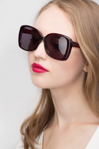 Marilyn Black Red Acetate Sunglass Frames for Women from EyeBuyDirect