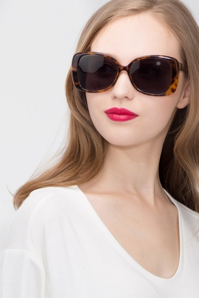 Marilyn Tortoise Acetate Sunglass Frames for Women from EyeBuyDirect, Front View