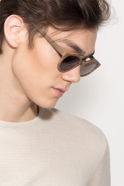 Enzo Brown/Striped Wood-texture Sunglass Frames for Men from EyeBuyDirect, Front View