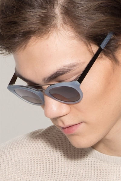 Enzo Clear/Blue Acetate Sunglass Frames for Men from EyeBuyDirect