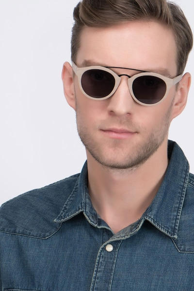 Enzo Light Brown Acetate Sunglass Frames for Men from EyeBuyDirect, Front View