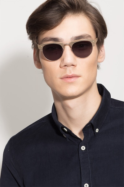 The Hamptons Walnut & Gold Wood-texture Sunglass Frames for Men from EyeBuyDirect, Front View