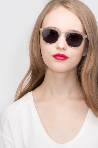 The Hamptons Walnut & Gold Wood-texture Sunglass Frames for Women from EyeBuyDirect, Front View
