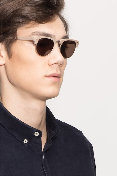 The Hamptons Oak & Silver Wood-texture Sunglass Frames for Men from EyeBuyDirect, Front View