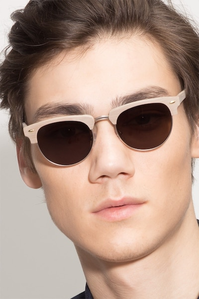 The Hamptons Oak & Silver Wood-texture Sunglass Frames for Men from EyeBuyDirect