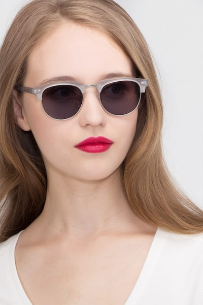 The Hamptons  Clear Silver  Acetate Sunglass Frames for Women from EyeBuyDirect, Front View