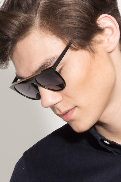 Miami Vice Black Metal Sunglass Frames for Men from EyeBuyDirect, Front View