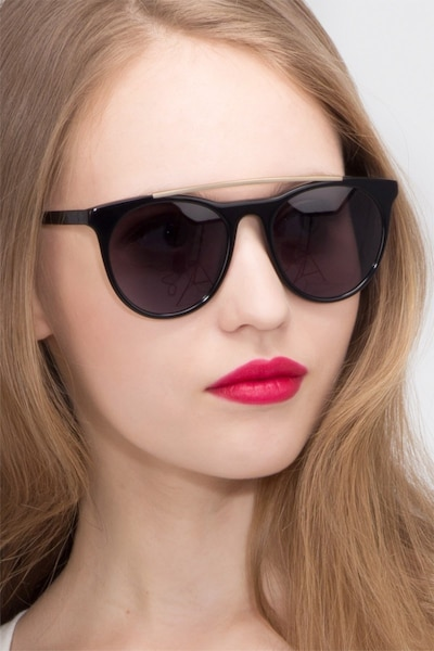 Miami Vice Black Metal Sunglass Frames for Women from EyeBuyDirect, Front View