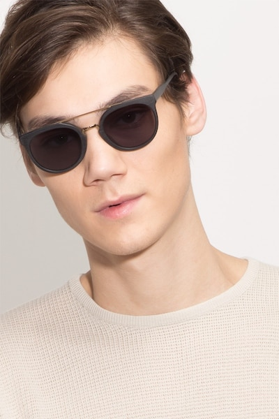 Bali Black/Golden Acetate Sunglass Frames for Men from EyeBuyDirect, Front View
