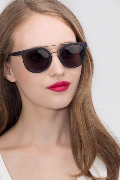 Bali Black/Golden Acetate Sunglass Frames for Women from EyeBuyDirect, Front View
