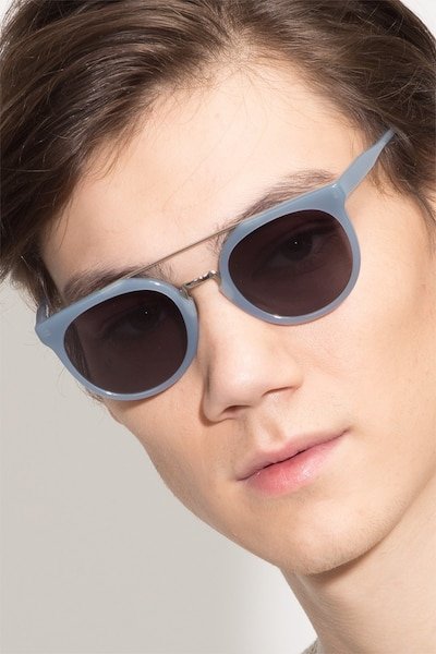 Bali Blue/Silver Acetate Sunglass Frames for Men from EyeBuyDirect
