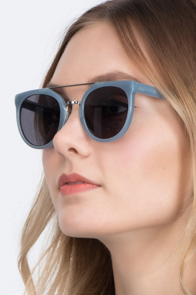 Bali Blue/Silver Acetate Sunglass Frames for Women from EyeBuyDirect