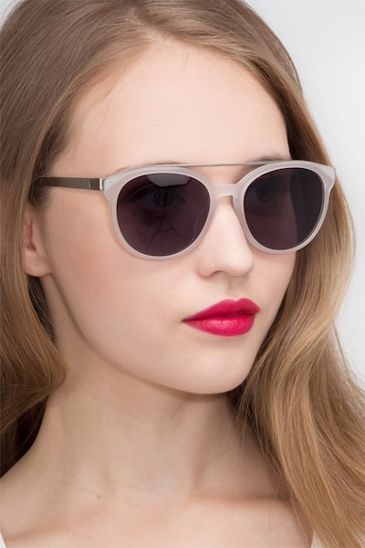 Morning Breeze Matte White Metal Sunglass Frames for Women from EyeBuyDirect, Front View