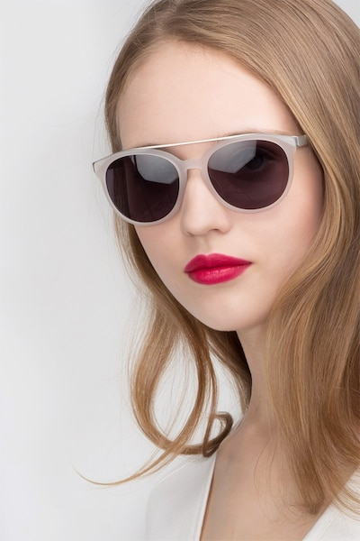 Morning Breeze Matte White Metal Sunglass Frames for Women from EyeBuyDirect