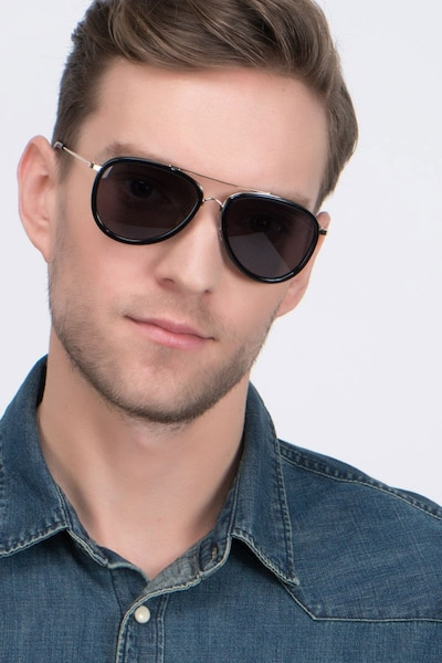 Duke Black Acetate Sunglass Frames for Men from EyeBuyDirect, Front View
