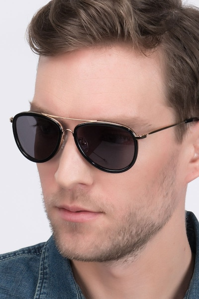 Duke Black Metal Sunglass Frames for Men from EyeBuyDirect