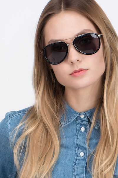 Duke Black Metal Sunglass Frames for Women from EyeBuyDirect