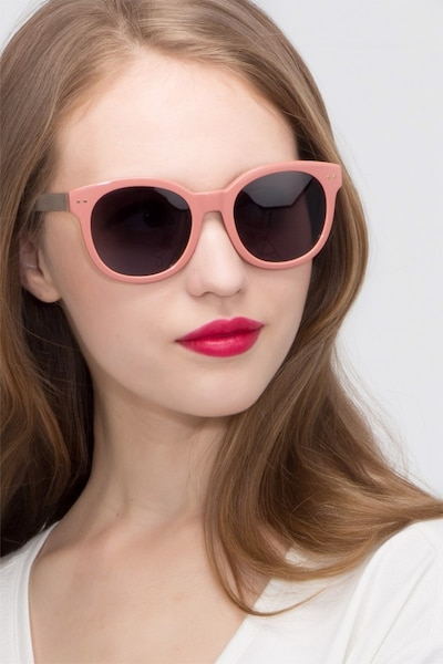 Till Sunset Pink Acetate Sunglass Frames for Women from EyeBuyDirect, Front View