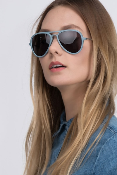 Riot  Light Blue  Acetate Sunglass Frames for Women from EyeBuyDirect, Front View