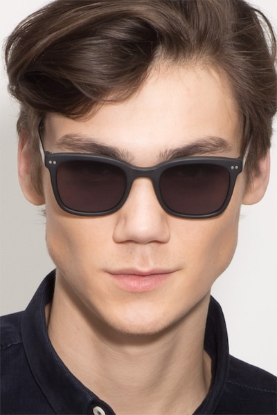 Peach Matte Black Acetate Sunglass Frames for Men from EyeBuyDirect, Front View