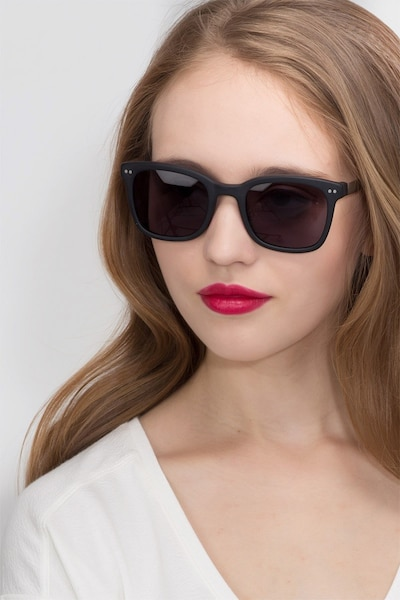 Peach Matte Black Acetate Sunglass Frames for Women from EyeBuyDirect, Front View