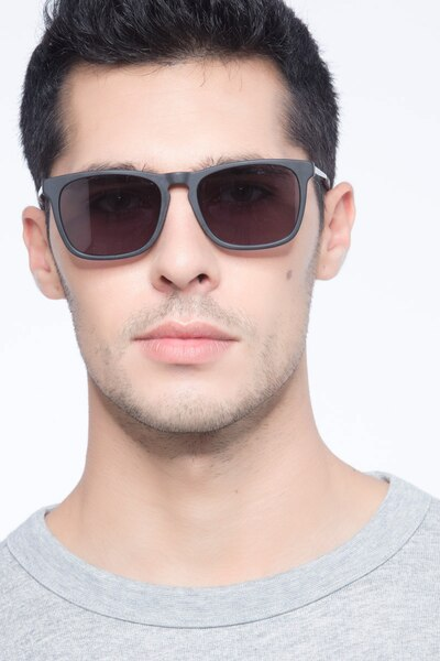 Bogota Matte Black Acetate Sunglass Frames for Men from EyeBuyDirect, Front View