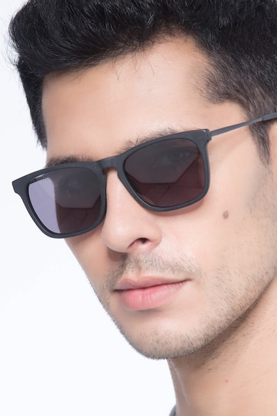 Bogota Matte Black Acetate Sunglass Frames for Men from EyeBuyDirect
