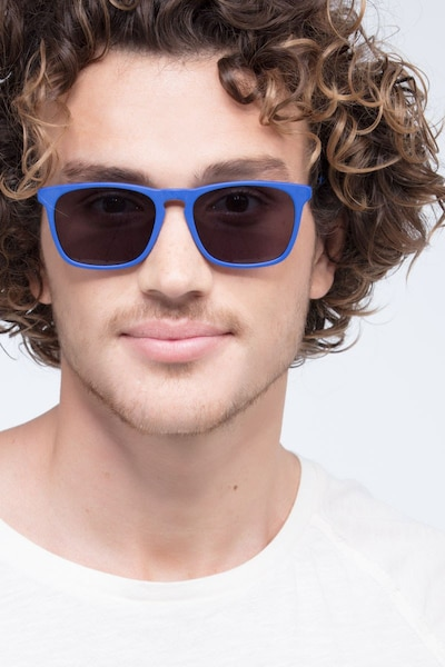 Bogota Matte Blue Acetate Sunglass Frames for Men from EyeBuyDirect, Front View