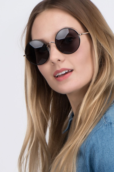 Mojo Black Acetate Sunglass Frames for Women from EyeBuyDirect, Front View