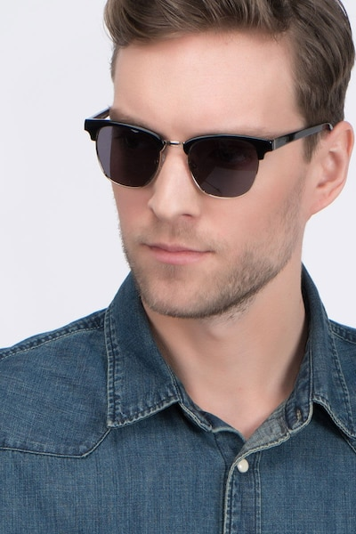 Somebody New Black Acetate Sunglass Frames for Men from EyeBuyDirect, Front View