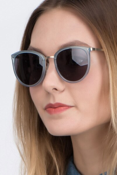 Crush Frosted Blue Metal Sunglass Frames for Women from EyeBuyDirect