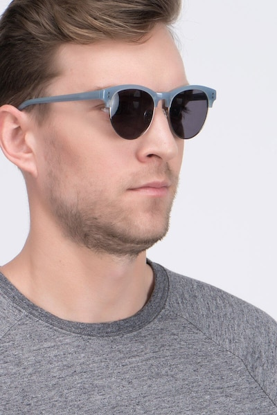 College Light Blue Acetate Sunglass Frames for Men from EyeBuyDirect, Front View